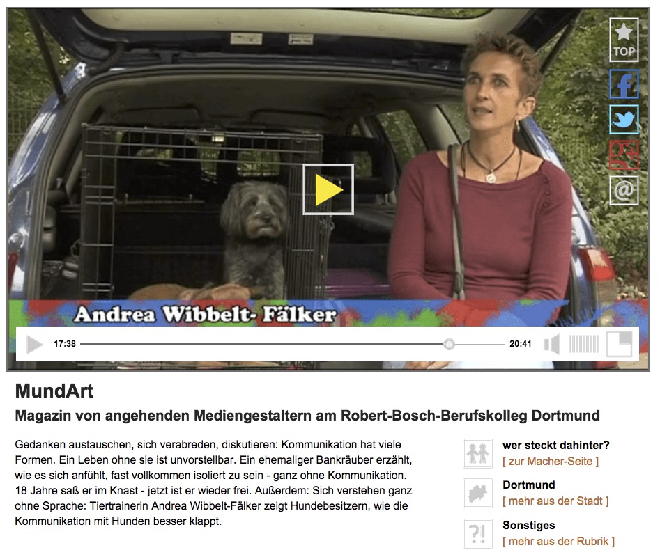 Hundetraining Dortmund - Andrea Wibbelt-Fälker im Video Interview zur Hundekommunikation